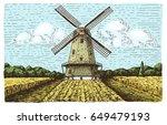 Windmill Landscape In Vintage ...