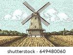windmill landscape in vintage ... | Shutterstock .eps vector #649480060