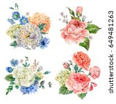 Stock photo set of vintage watercolor roses peonies leaves buds branches flowers and wildflowers 649481263