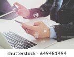 businessman making credit card... | Shutterstock . vector #649481494