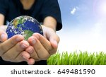 earth planet the hand on nature ...   Shutterstock . vector #649481590