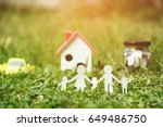 paper cut of family on green...   Shutterstock . vector #649486750