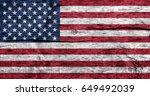 usa flag on wood texture... | Shutterstock . vector #649492039
