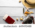 summer holiday background ... | Shutterstock . vector #649493488