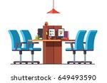 modern minimalist open space... | Shutterstock .eps vector #649493590