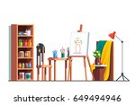 modern painter artist workshop... | Shutterstock .eps vector #649494946