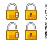 lock icons set. flat style... | Shutterstock . vector #649495240