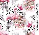 tropical seamless pattern with... | Shutterstock . vector #649495360