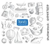 travel sketches set. cool hand... | Shutterstock .eps vector #649497859