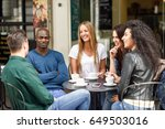 multiracial group of five... | Shutterstock . vector #649503016