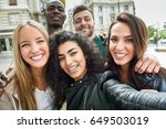 multiracial group of friends... | Shutterstock . vector #649503019