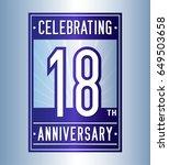 18 years anniversary design... | Shutterstock .eps vector #649503658
