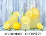 vintage pitcher of lemonade... | Shutterstock . vector #649504504