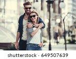 beautiful young couple in sun... | Shutterstock . vector #649507639