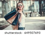 beautiful girl in sun glasses... | Shutterstock . vector #649507693