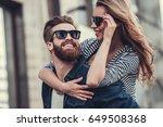beautiful young couple in sun... | Shutterstock . vector #649508368
