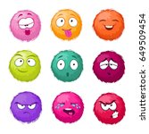 funny colorful cartoon fluffy... | Shutterstock .eps vector #649509454