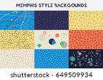 set of hipster fashion memphis... | Shutterstock .eps vector #649509934