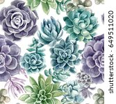 pattern succulents painted with ... | Shutterstock . vector #649511020