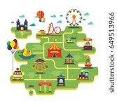 family fun amusement park... | Shutterstock .eps vector #649513966