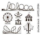 amusement park  roller coasters ... | Shutterstock .eps vector #649513984