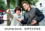 womant asks for directions from ... | Shutterstock . vector #649514566