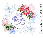 wildflower dogwood flower frame ... | Shutterstock . vector #649517854