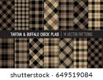 brown tartan and buffalo check... | Shutterstock .eps vector #649519084