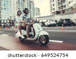 beautiful young couple in sun... | Shutterstock . vector #649524754
