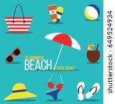 summer beach holiday vector... | Shutterstock .eps vector #649524934