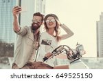 beautiful young couple in sun... | Shutterstock . vector #649525150