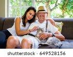 elderly eighty plus year old... | Shutterstock . vector #649528156