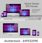 set of realistic computer... | Shutterstock .eps vector #649532098