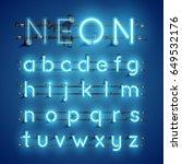 blue neon character font set on ... | Shutterstock .eps vector #649532176