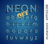 blue neon character font set on ... | Shutterstock .eps vector #649532188