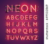 Red Neon Character Font Set On...