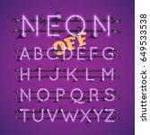 purple neon character font set... | Shutterstock .eps vector #649533538