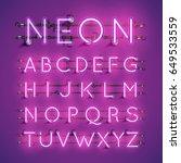 purple neon character font set... | Shutterstock .eps vector #649533559