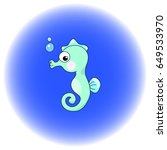 cute seahorse cartoon vector... | Shutterstock .eps vector #649533970