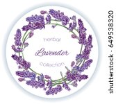 vector lavender wreath banner... | Shutterstock .eps vector #649538320