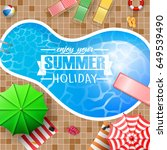 swimming pool top view with... | Shutterstock .eps vector #649539490