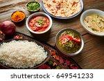 palak panner and chicken tikka...   Shutterstock . vector #649541233