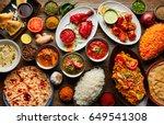 assorted indian recipes food... | Shutterstock . vector #649541308