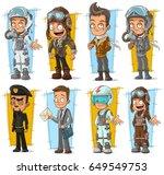 cartoon cool pilot in helmet... | Shutterstock .eps vector #649549753