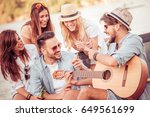 group of happy young people... | Shutterstock . vector #649561699