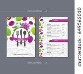 vector template restaurant menu ... | Shutterstock .eps vector #649563010