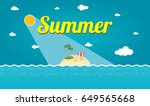 tropical island with palms... | Shutterstock .eps vector #649565668