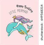under the sea   little mermaid  ... | Shutterstock .eps vector #649568314