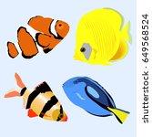 set marine aquarium fish.... | Shutterstock .eps vector #649568524