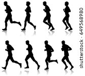 set of silhouettes. runners on... | Shutterstock .eps vector #649568980